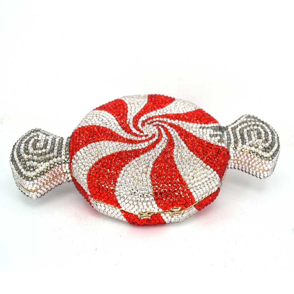 Projektant czerwone cukierki torebka dostosowane luksusowe kryształ wieczór torba słodycze kształt łańcucha kopertówka kobiet torba SC579 w Torby z uchwytem od Bagaże i torby na  Grupa 3