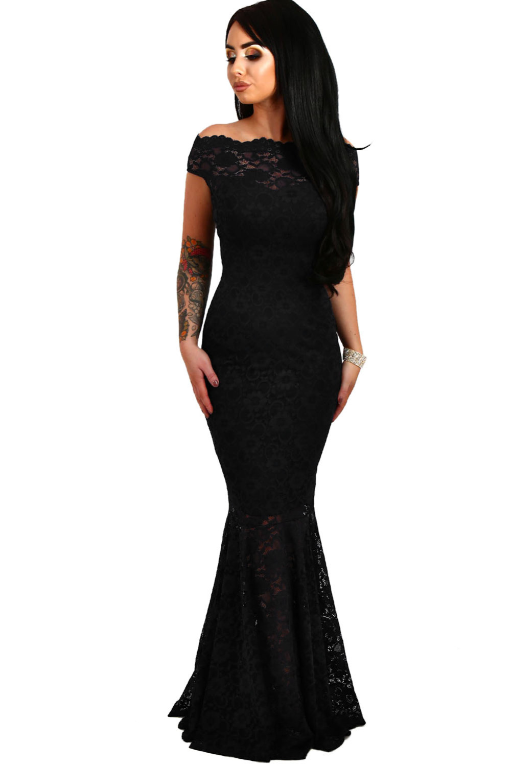 25880f178d 2018 New Arrival Summer Women s Fashion Pink Red Navy Black White Bardot  Lace Fishtail Maxi Dress LGY61481