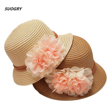 2017 Spring summer Retail Children flower dome straw hat baby girls Beach Hats kids sun