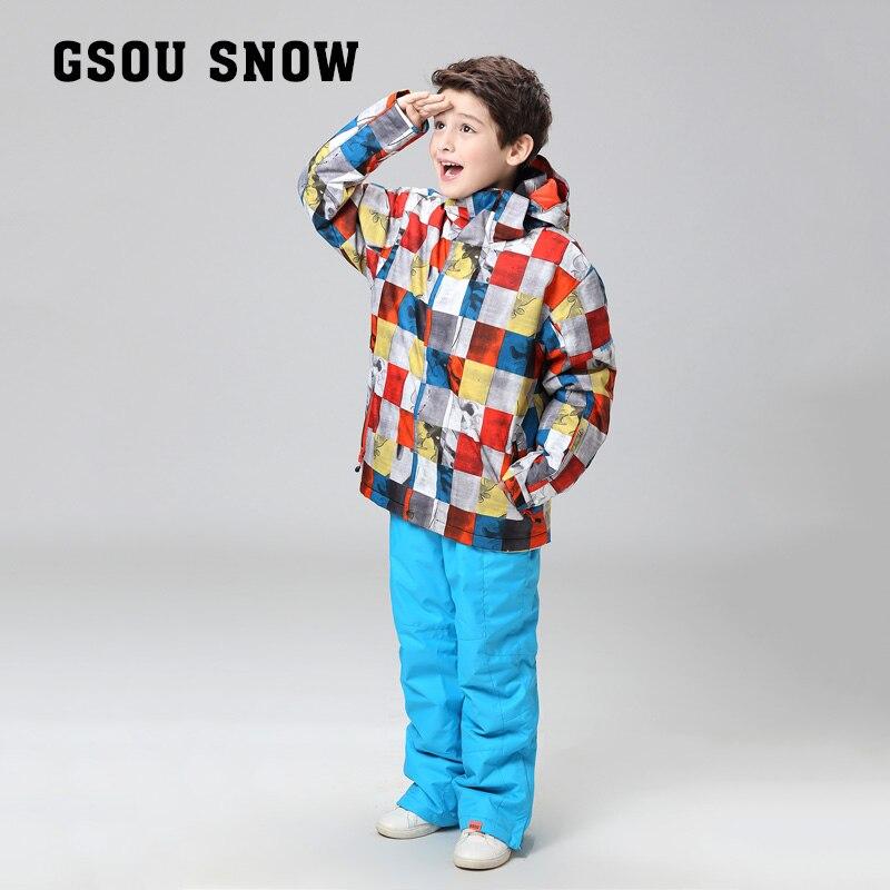 Prix pour GSOU SNOW contre une véritable combinaison de ski pour enfants, mâle, imperméable à l'eau, imperméable à l'eau couleur grille