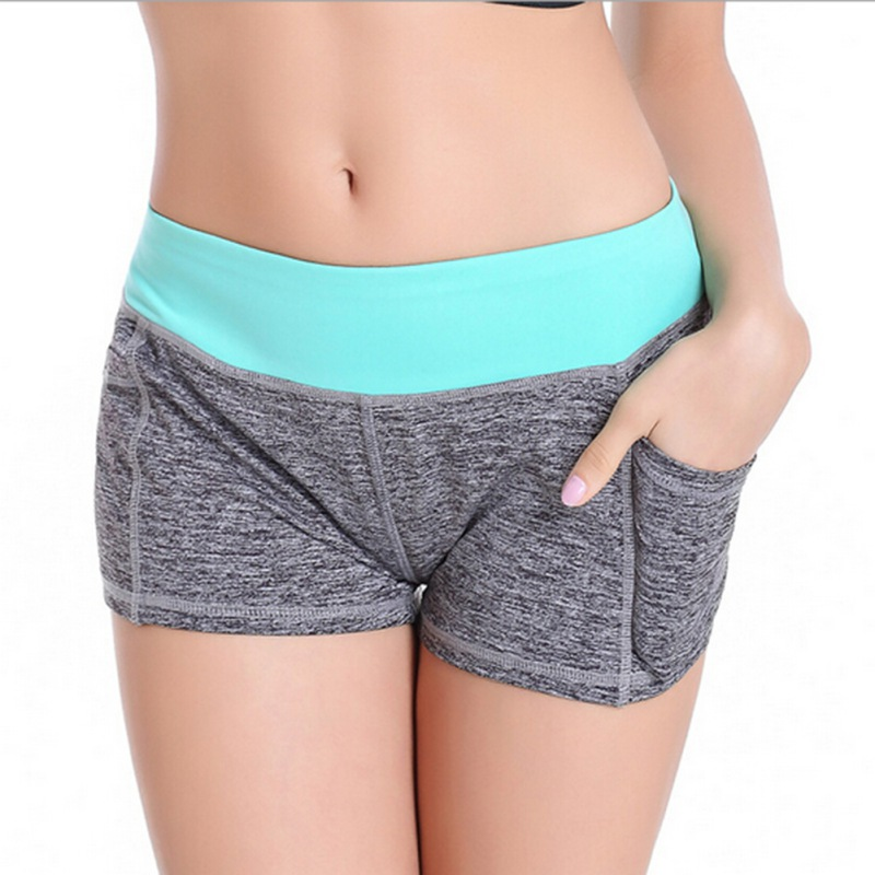 Womens Sport Shorts Yoga Exercise Fitness Pants With Pocket GYM Jogging Trousers