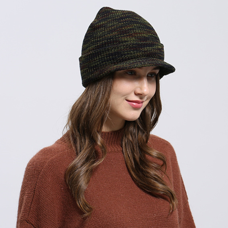 258ae6cadc6 Men Women Knitted Hat Army Style Thick Strips Wool Beanies Cap 2018 Autumn Winter  Warm Visors