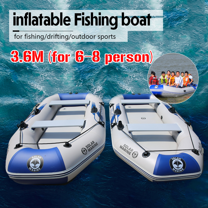 3.6M Inflatables Kayak Fishing Boat Rowing Inflatable Surfing 6-8person Boat Pvc Boat Wear-resistant For Fishing Rubber Boating
