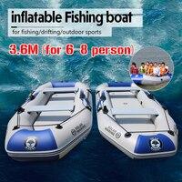 Barco inflável do pvc do barco do surf 6-8person do caiaque dos inflatables de 3.6 m que rema para o barco de pesca de borracha
