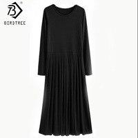Simples do vintage 2017 Outono 5XL Plus Size Longos Vestidos Com Caixilhos Plissada Alta Estiramento Cores Sólidas Casual Maxi Dress D63704R