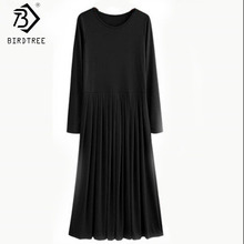 2016 Autumn 5XL Plus Size Dresses With Sashes Long Sleeve Casual Pleated Maxi Dress Vestido XXXXL D63704R