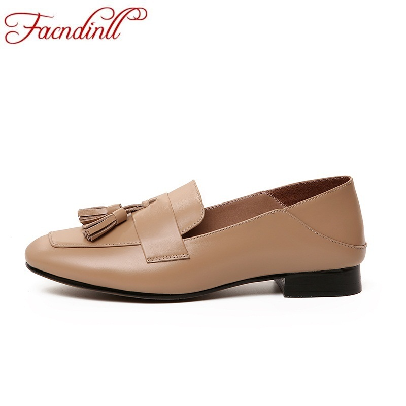 FACNDINLL genuine leather women ballet flats ladies casual dress shoes new spring sutumn leather loafers square toe woman