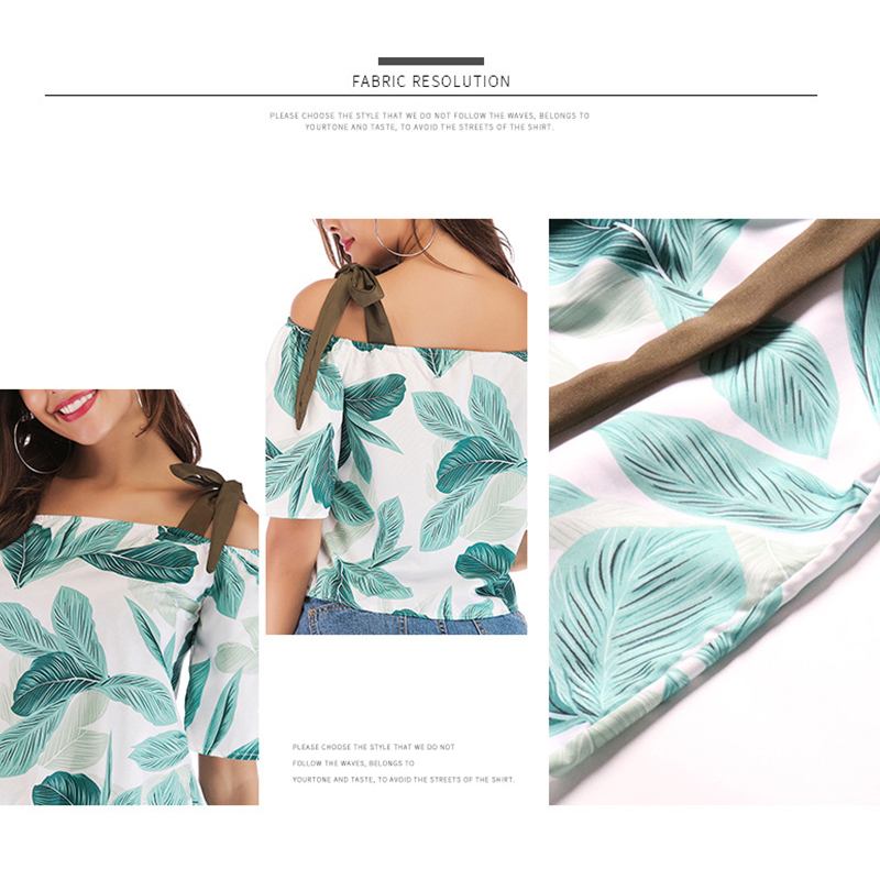 2019 Summer New Fashion Women Blouses Slash Neck Lace up Camis Beach Chiffon Half Sleeves Floral Print Casual Short Shirt in Blouses amp Shirts from Women 39 s Clothing