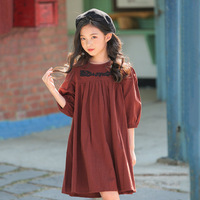 2019 Spring Summer Children Dress Embroidery Kids Dresses For Girls Cotton Teenagers Baby Girl Clothes Teens 6 8 10 11 12 13 14