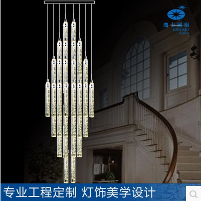 customize modern fashion luxurious K9 bubble crystal column led pendant light for entrance stair living room AC 80-265V 1087 modern fashion luxurious rectangle k9 crystal led e14 e12 6 heads pendant light for living room dining room bar deco 2239