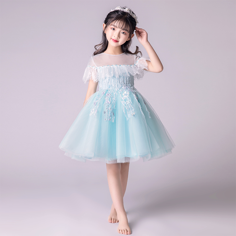 Flower Girl Dresses for Wedding Ball Gown Kids Pageant Dress for Birthday Costume Tulle Hollow Out Princess Party Dress B189