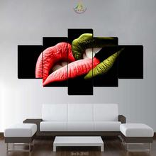 3-4-5 Pieces Green Red Lips Modern Wall Art Canvas Printed Painting HD Prints Modular Poster Pictures for Home Decor