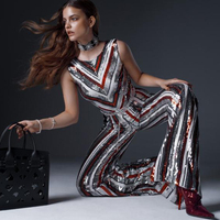 Adyce Celebrity Runway Party Jumpsuits For Women 2018 Sexy Sleeveless Sequines Rompers Runway Jumpsuit Sexy Bodycon Bodysuits