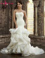 יופי אמילי יוקרה לבנה תחרת שכבות שמלות כלה 2018 בת ים סטרפלס ללא שרוולים תחרה עד חתונת שמלות כלה שמלות