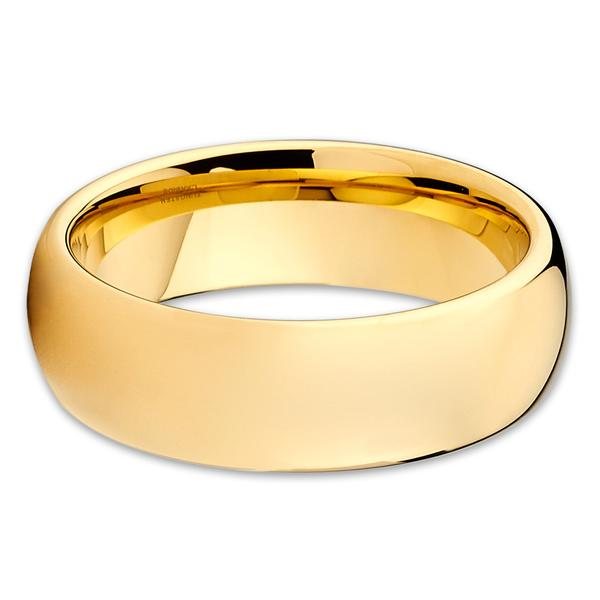 Yellow Gold Color Clic Tungsten Carbide Ring Blank Mens Wedding Bands Rings Jewelry Trendy Wide Engagement Metal In From