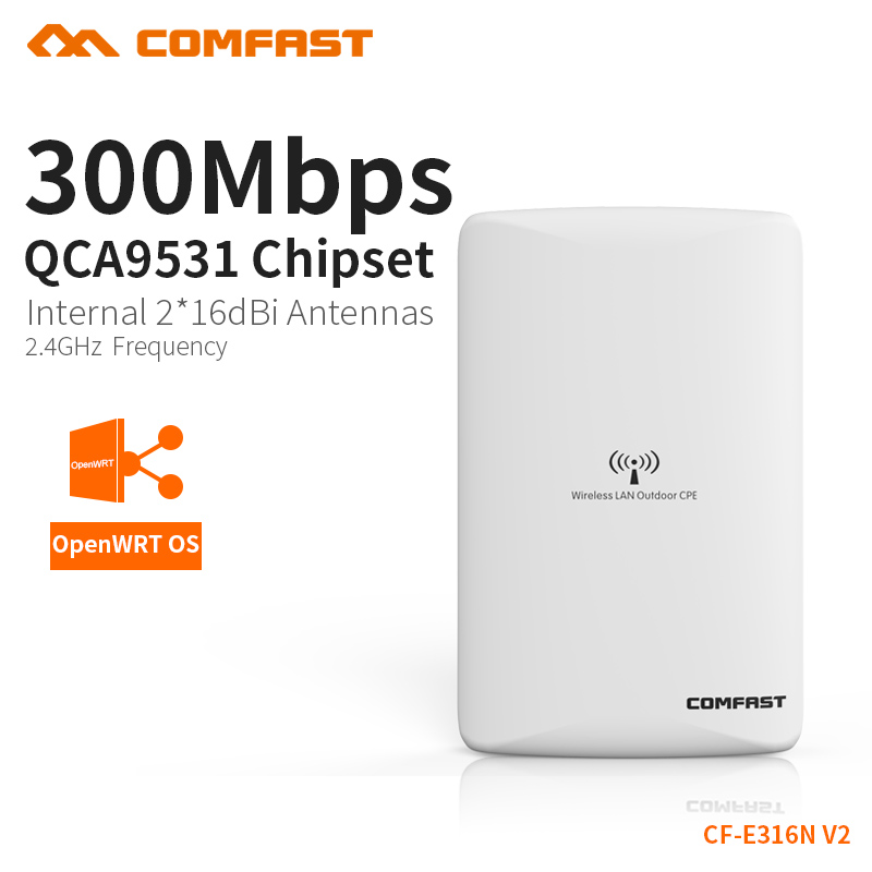 COMFAST  Wireless Outdoor access point wifi router 300mbps WIFI signal booster Amplifier AP Dual 16dBi Antenna CF-E316N comfast ac200 orange os system full gigabit wifi control ac gateway routing wireless roaming wifi coverage project manager route