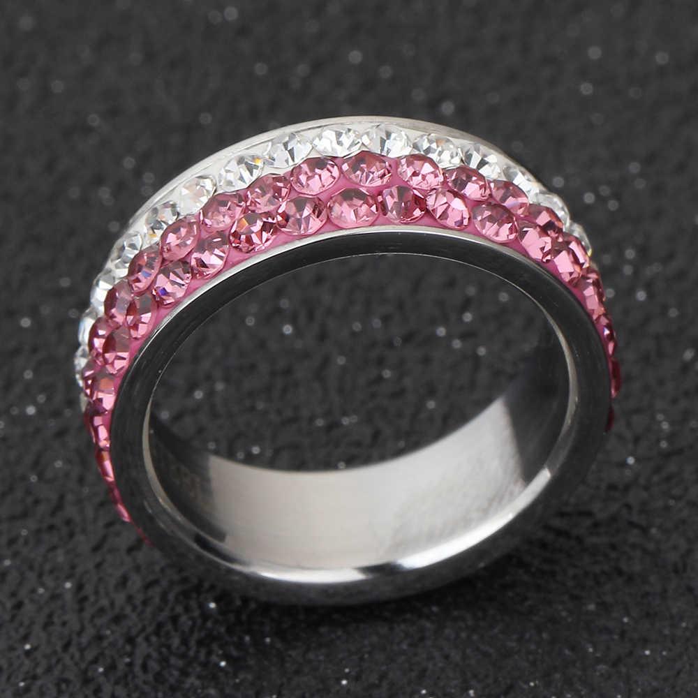Món quà giáng sinh Czech pha lê rings cho phụ nữ và cô gái thép không gỉ phụ kiện vòng trang sức