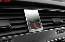 цена на BJMYCYY 1Pc Stainless Steel Car Interior Double Flash Light Emergency Light Button Frame Cover Trim Fits For VW Golf 7 2014 2015