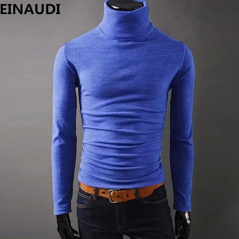 Einaudi Новинка 2017 года осень мужские Свитеры для женщин Повседневное мужской водолазка мужские черные трикотаж Slim Fit брендовая одежда свитер