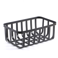 Nordic Black Wrought Iron Storage Basket Desktop Cosmetics Finishing Wide Line Metal Basket Kitchen Seasoning Jar Organizer