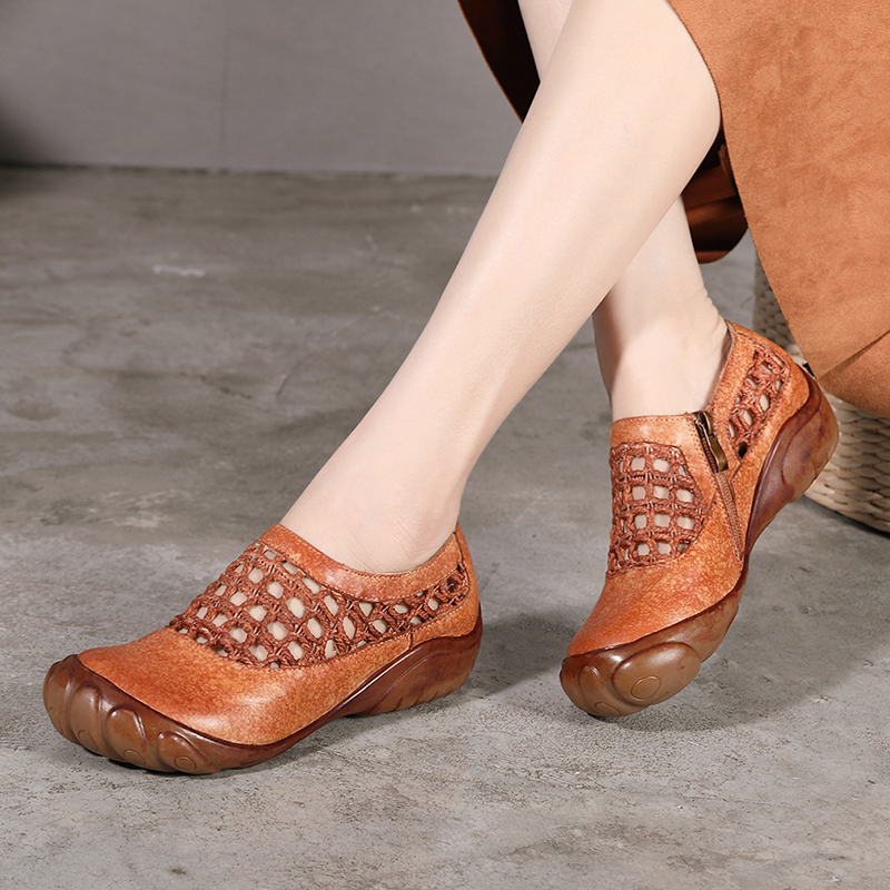 2019 VALLU Spring Summer Women Flats Shoes Genuine Leather Cut Out Round Toes Zipper Soft Comfortable