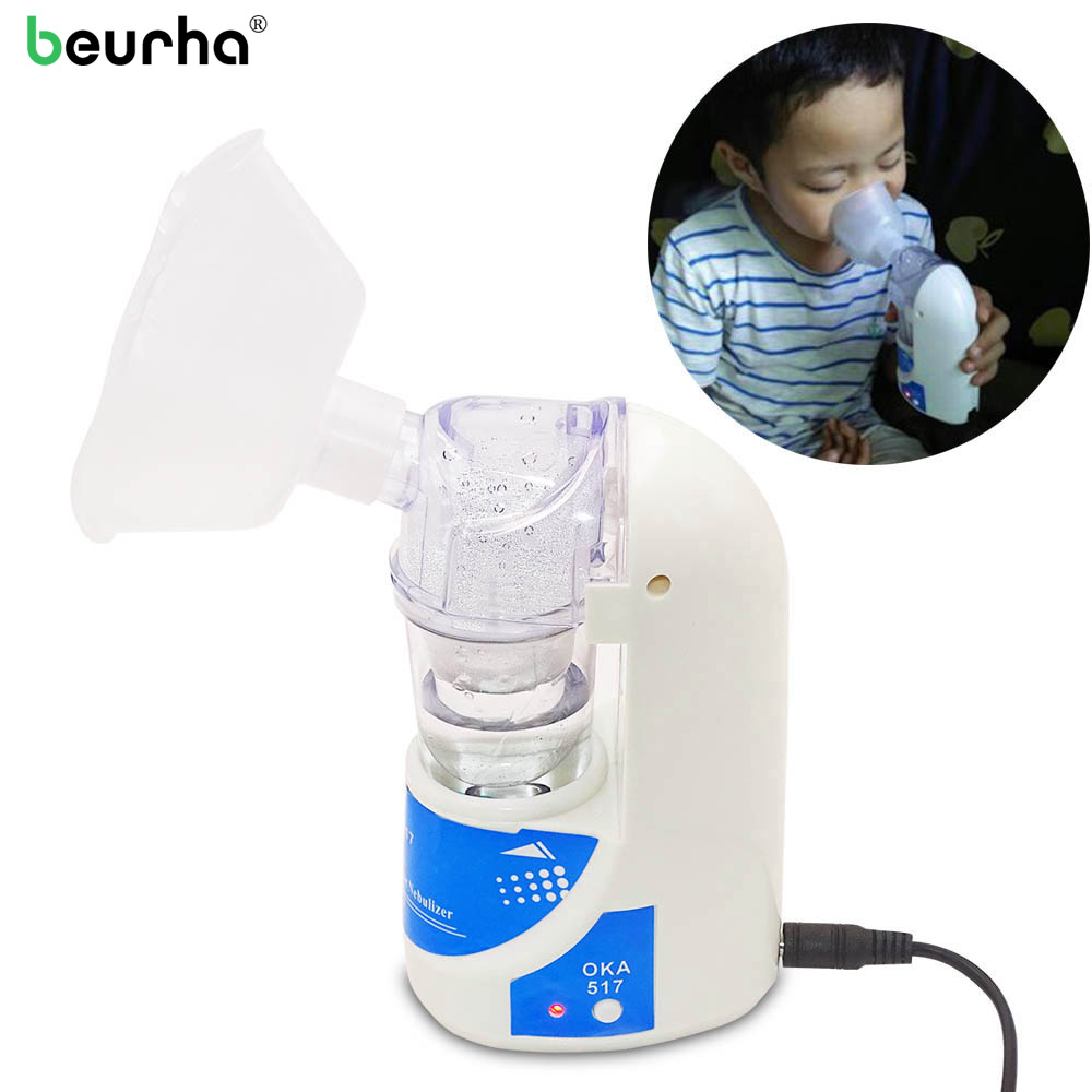 Beurha Health Care Portable Atomizer Inhaler Handheld Nebulizer For Children Adult Asthma Trachea Treatment Equipment Medical cofoe portable ultrasonic nebulizer medical home health care portable inhaler mini dolphins cartoon designed 2017 free shipping