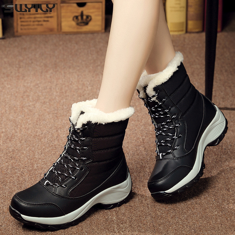SWYIVY Women Winter Boots 2019 New-style Plus Velvet High-top Shoes Student Lace-up Snow Boots Female Wedge Platform Black Shoes