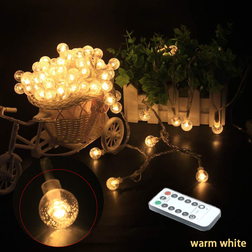 10M Fairy Garland LED Foaming Ball String Lights Remote control Waterproof For Christmas Wedding Indoor Decoration on AA Battery