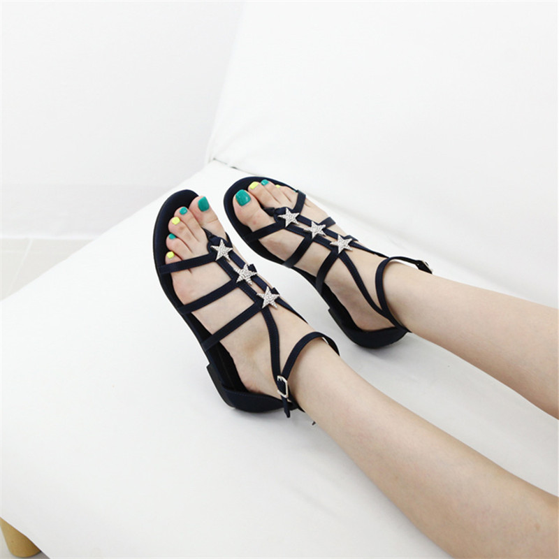 d23929c20054ae Smile Circle 2018 Summer Sandals Women Fashion Star Rhinestones T type  buckle Flat Shoes Women Sandals -in Middle Heels from Shoes on  Aliexpress.com ...