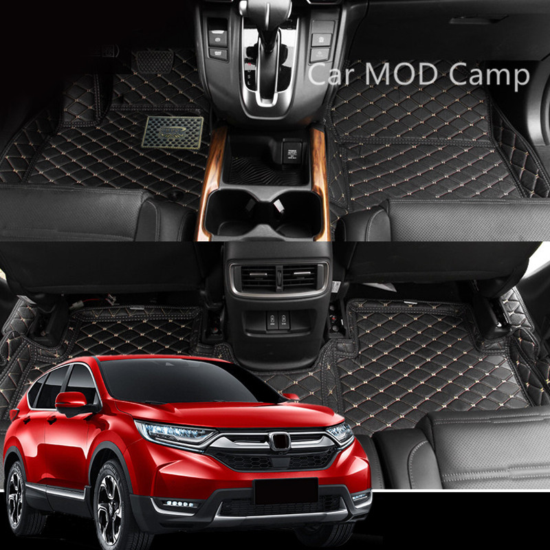 For Honda CRV CR-V 2017 2018 Car Artificial Leather Interior Floor Carpets Foot Mat Pad 1 Set Car Styling accessories! genuine honda 83600 sna a02zd floor mat set