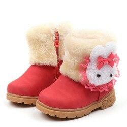 2019 botki dla małej dziewczynki ciepłe śliczne królicze maluch dzieci buty dziewczęce dziewczęce buty zimowe dziecięce rozmiar butów 21 30 bota infantil Buty Matka i dzieci -