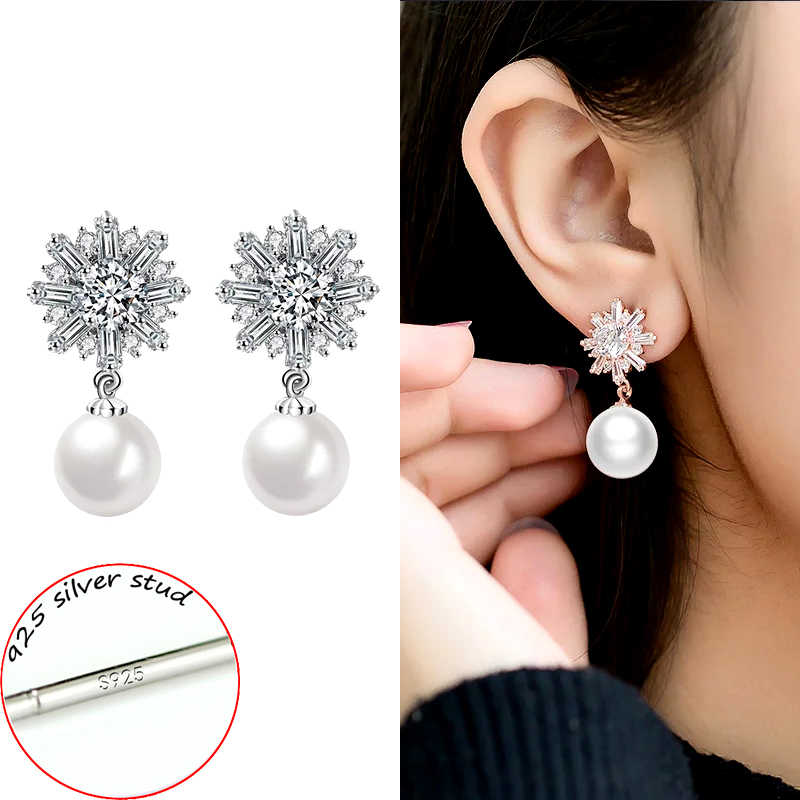 SINLEERY Luxury Snowflake Cubic Zirconia Imitation Pearl Drop Earrings Wedding Jewelry For Women Birdal Party Gifts Es088 SSB