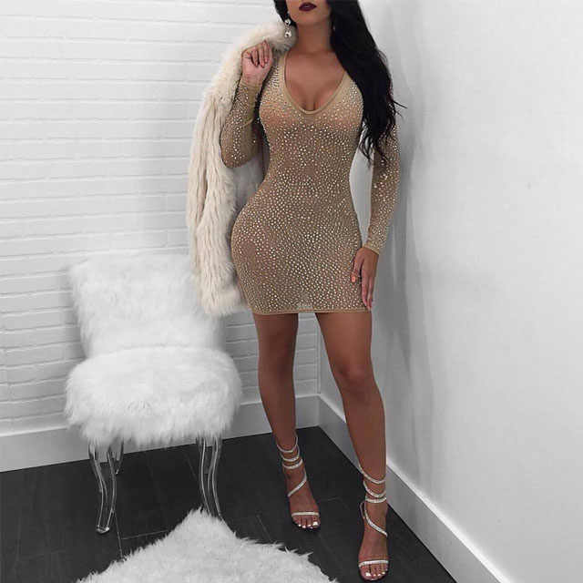 e4fecfbbce Metal Diamonds Dress Long Sleeve Bodycon Birthday Dress Women Sexy ...