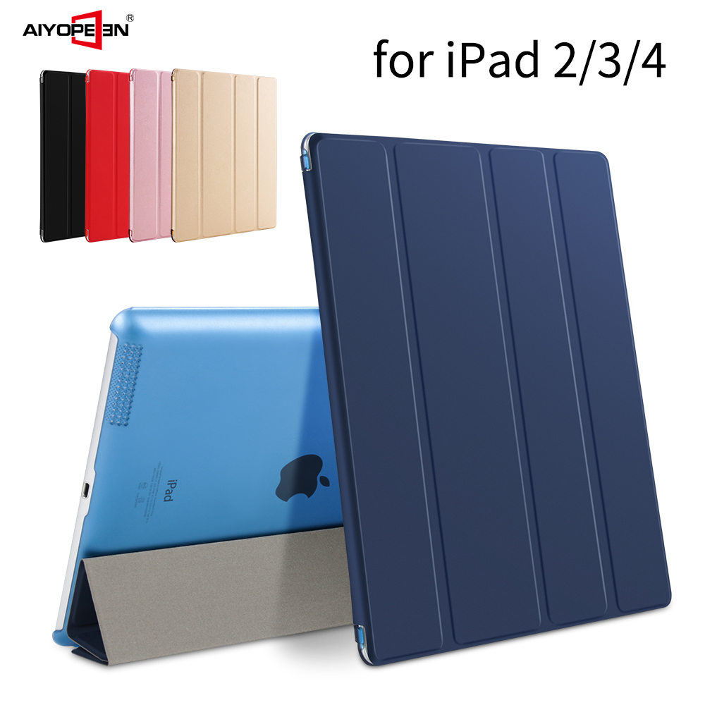 Case for iPad 2 3 4,AIYOPEEN pu leather smart cover auto sleep with hard pc matte translucent back hard cover for ipad 2 case simple protective pc back case for iphone 5c translucent green
