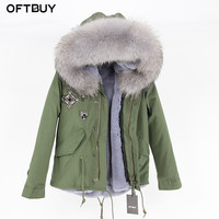 Winter Jacket Coat Brand 2019 Embroidery Diamond Khaki Green Parka Women Parkas Real Fur Coat Natural Raccoon Fur Collar Warm