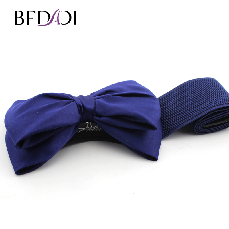 BFDADI Cummerbund 2018 Most Fashion Women Candy Kinds Bow Belts All-match Wide Stretch Waist Elastic Cummerbund Free Shipping