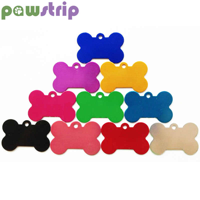 pawstrip 10pcs/lot Bone Shaped Pet ID Tag Aluminum Alloy Pet Tag Colorful Dog Anti-Lost Accessories Cat Identification Nameplate