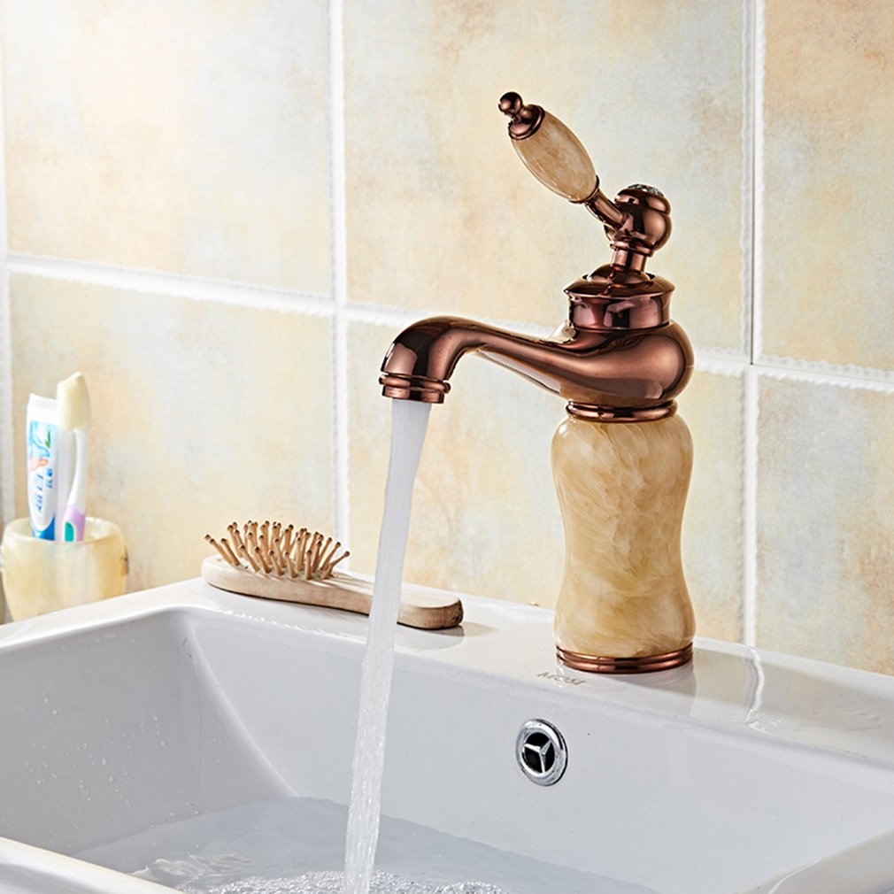 European Basin Faucet Gold Antique Jade Hot And Cold Faucet Washbasin Household Bathroom Wash Basin FaucetEuropean Basin Faucet Gold Antique Jade Hot And Cold Faucet Washbasin Household Bathroom Wash Basin Faucet