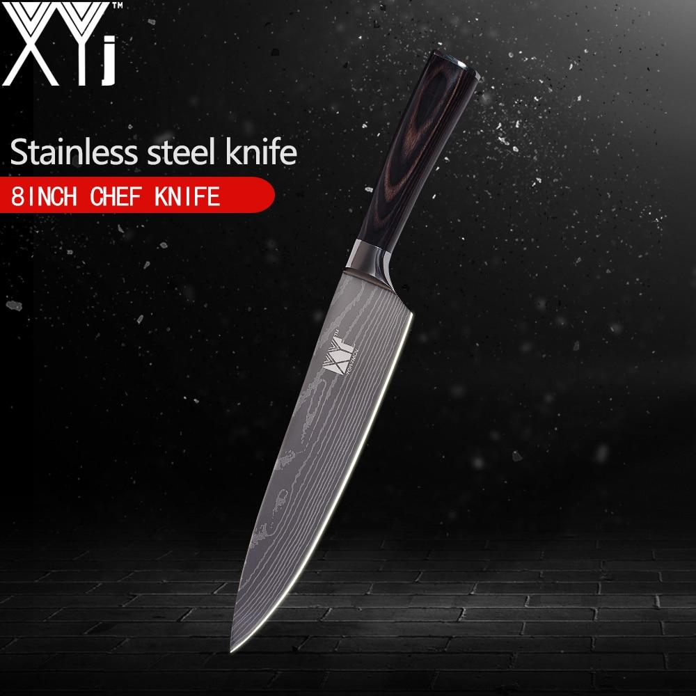 XYj solo cuchillo de acero inoxidable 3,5, 5, 5, 7, 8, 8 pulgadas japonés Damasco venas patrón cuchillo de cocina Super afilado herramientas de cocina