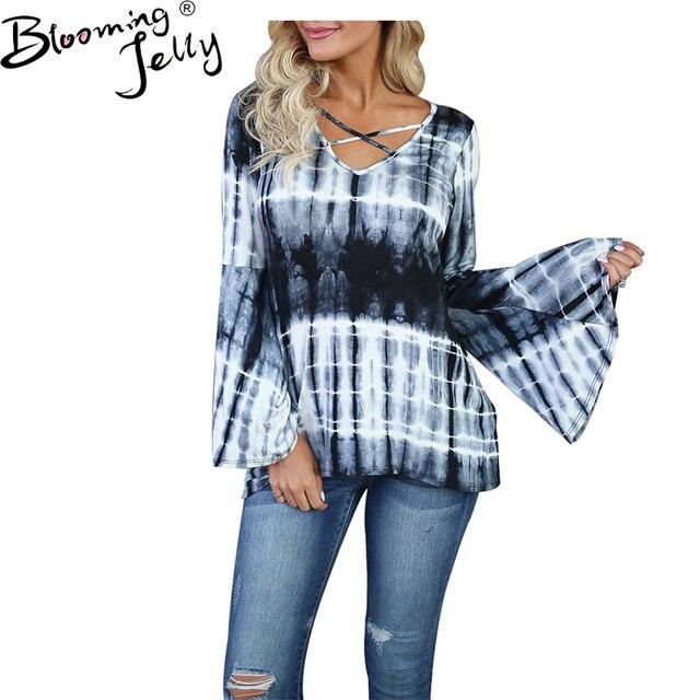 Blooming Jelly Tie Dye Shirt Ruffle Flare Sleeve Blouses Women 2017 New  Autumn Harajuku Casual Fashion Blouses Plus Size Blusas cb91c64342