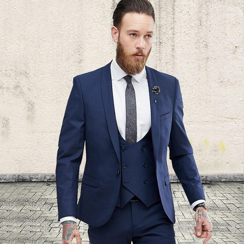 Navy Blue Three Pieces Men Suit Formal Wedding Tuxedos For Groomsmen Tuxedo Custom Made 2018