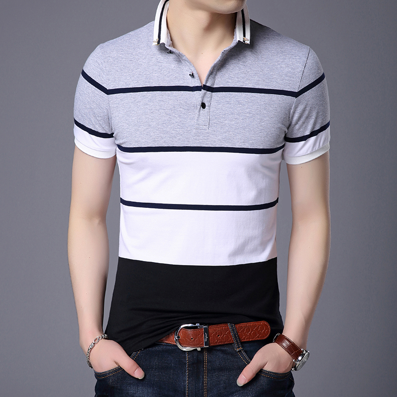 2019 New Fashion Brands Summer   Polo   Shirts Men Striped Boys Slim Fit Short Sleeve Mercerized Cotton   Polos   Casual Men Clothing