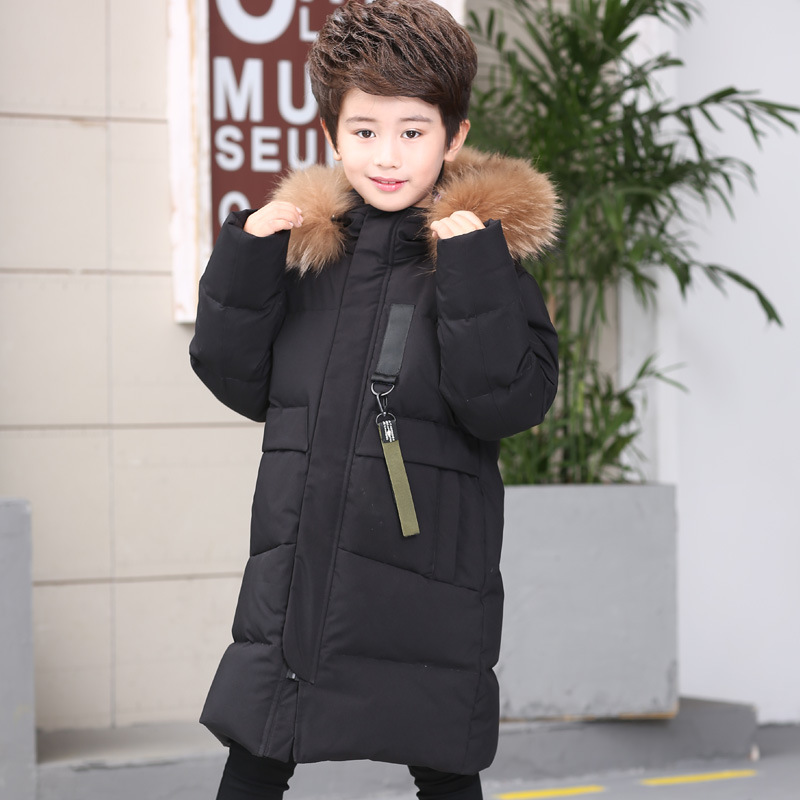 HSSCZL Boys Down Jacket Winter 2017 Brand Big Boy Real Fur Collar Children's Down Coat Thicken Overcoat Outerwear Parkas 6-14age a15 girls down jacket 2017 new cold winter thick fur hooded long parkas big girl down jakcet coat teens outerwear overcoat 12 14