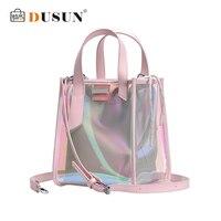 DUSUN Summer Laser Transparent Bag Female Candy Color 2019 Fashion New Jelly Bag Hasp PVC Phone Purse Shoulder Crossbody Bags