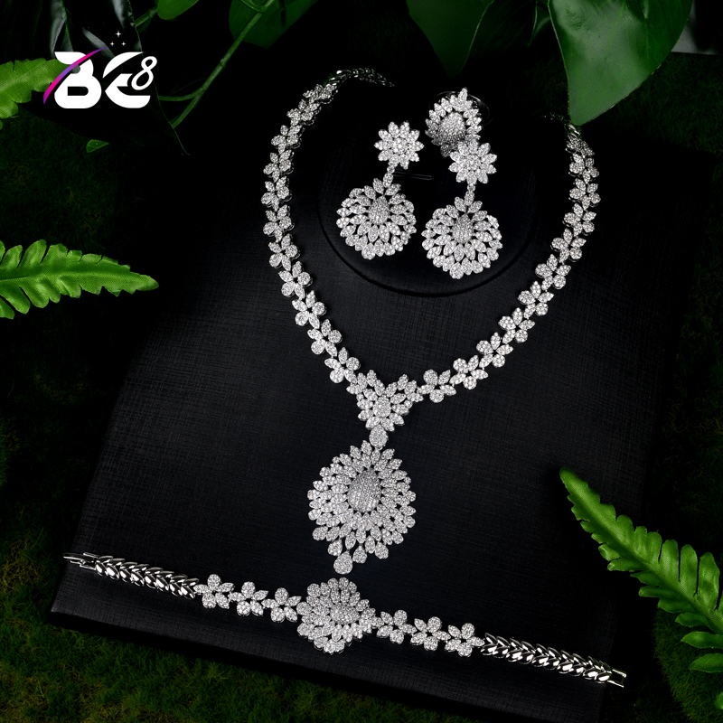 Be 8 Brilliant Cubic Zirconia Wedding Jewelry Sets for Women Bridal 4 Pcs Earring Necklace Set African Jewelry Set S077Be 8 Brilliant Cubic Zirconia Wedding Jewelry Sets for Women Bridal 4 Pcs Earring Necklace Set African Jewelry Set S077