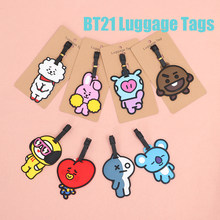 BT21 Luggage Tags Portable Silicone Baggage Holder Travel Accessories Fashion Portable BTS Suitcase Label Name Card Boarding ID(China)