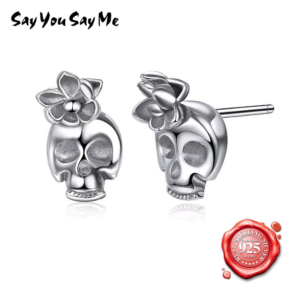 Сказать вы говорите мне в стиле панк серебряная шпилька Череп серьги 925 серебро подарок вечерние элегантные Мода Стиль дропшиппинг купить на AliExpress
