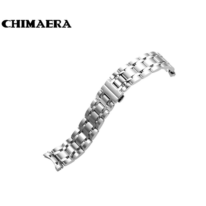 CHIMAERA Watchband 316L silver Vintage Stainless steel watch strap 18mm 22mm 23mm for Tissot couturier T035 Watch band