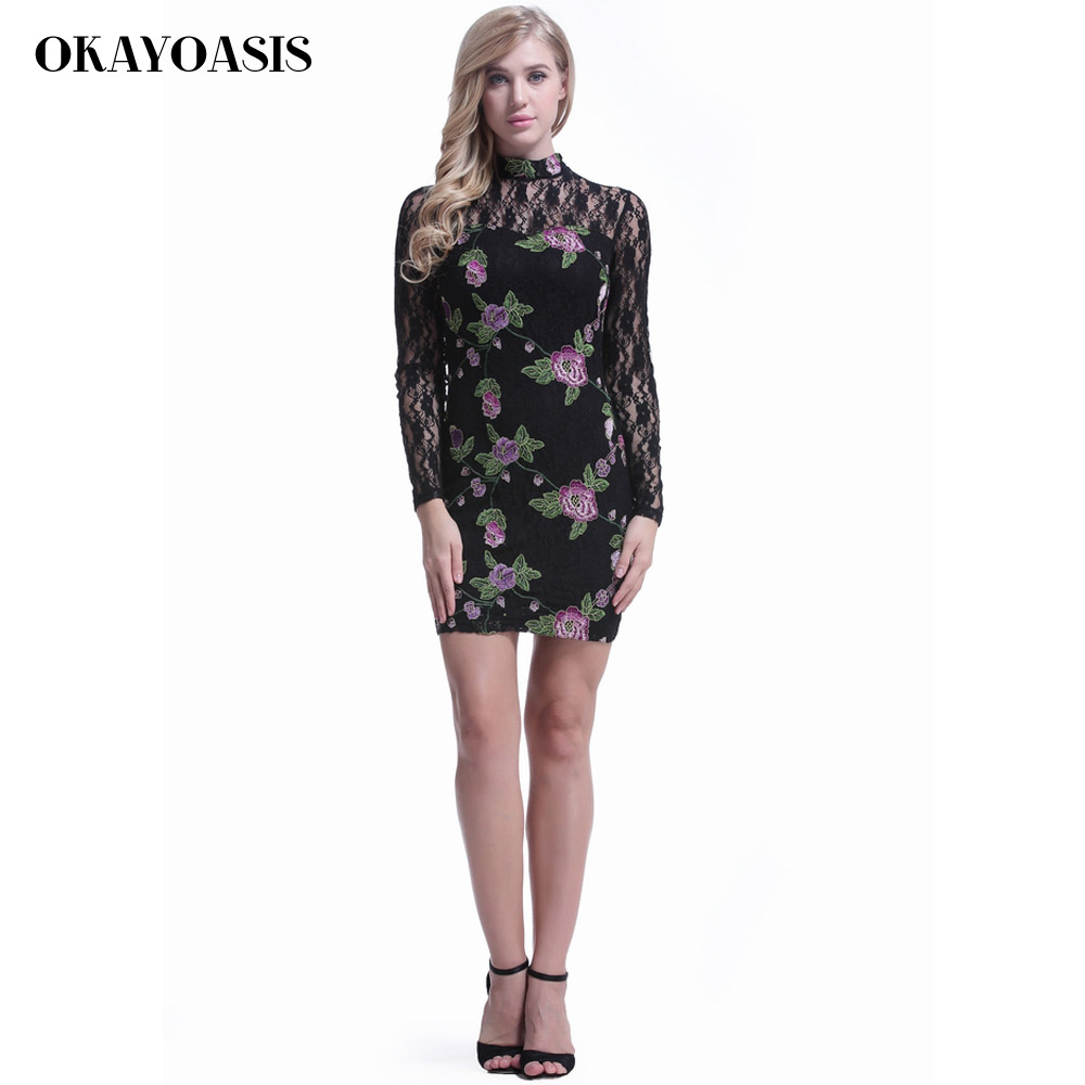 Us 1954 15 Offokayoasis 2018 Autumn Winter New Long Sleeve Embroidery Lace Bodycon Dress Elegant High Neck Black Women Dresses For New Year In