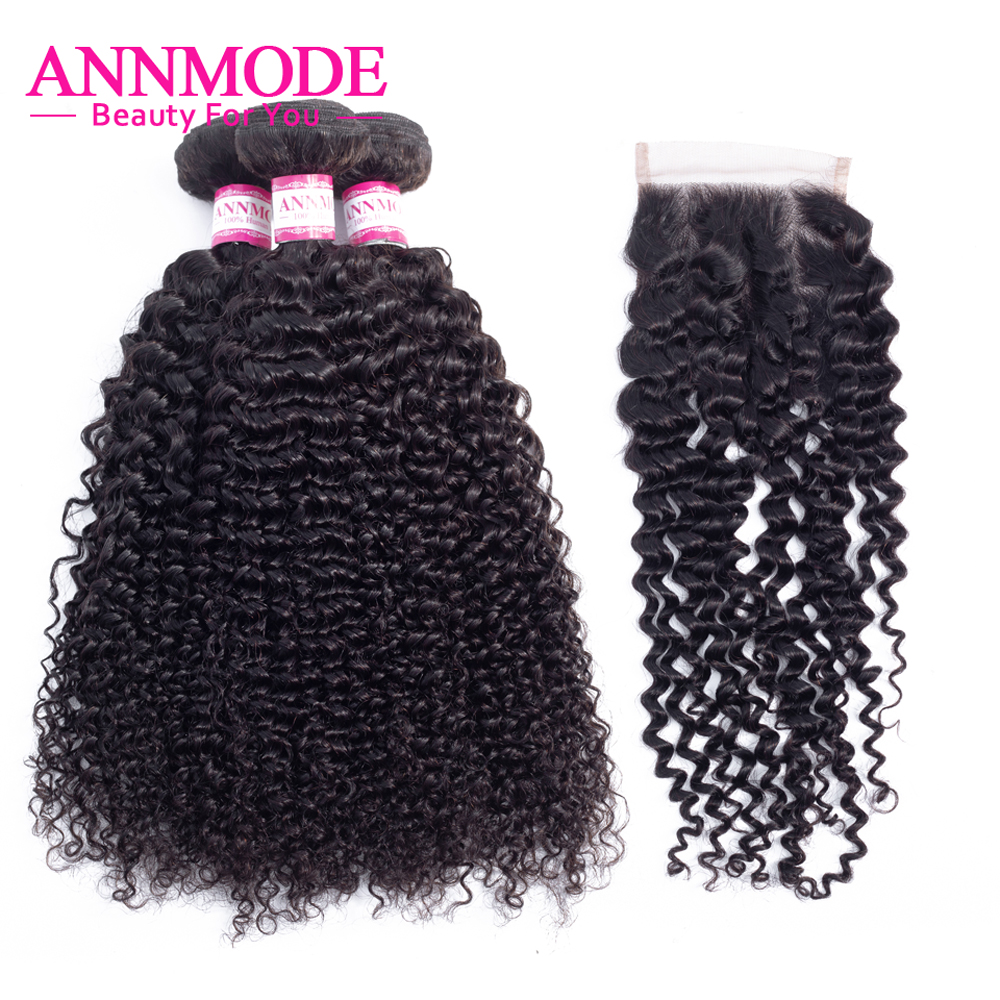 3/4 Bundles Malaysian Kinky Curly Hair With Closure Human Hair Bundles With Closure 4x4 Inch Closure With Bundles Non Remy